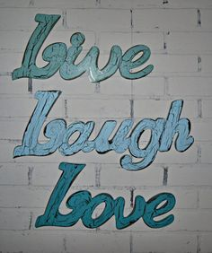 Items similar to Wall Decor / Live Laugh Love Wall Words/ Sign / Shabby Chic / Cottage / Shabby Chic Decor on Etsy Live Laugh Love, Live Love, Love You, Cursive Words, Love Wall, Awesome Bedrooms, Happy Life, Wall Decor, Neon Signs