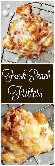 Fluffy, soft, moist and loaded with fresh peaches…Peach Fritters! Fluffy, soft, moist and loaded with fresh peaches…Peach Fritters! Köstliche Desserts, Delicious Desserts, Dessert Recipes, Yummy Food, Fruit Deserts Recipes, Plated Desserts, Healthy Food, Weight Watcher Desserts, Low Carb Dessert