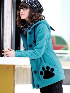 Kawaii blue paw print coat
