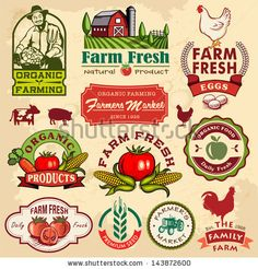 Collection of vintage retro farm labels and design elements by Catherinecml, via Shutterstock
