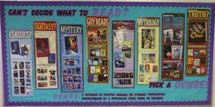 Teen school library bulletin boards | Smells Like Library: BULLETIN BOARDS & DISPLAY : Back To School; Genre