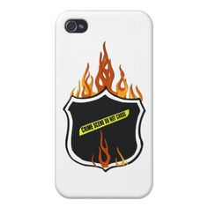 Police Badge Flaming Tattoo Cover For iPhone 4