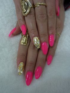 Pink claws with gold bling!