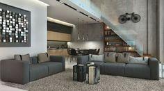 loft de diseño industrial de color gris