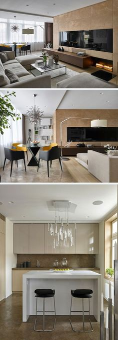 A beautiful and neat interior of an apartment in Moscow. Graceful and Smart Interior Ideas of the Country House in Moscow. #kitcheninteriordesigncountry