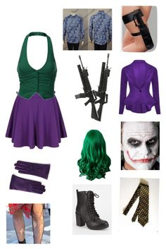 """Female The Joker Costume Idea for Halloween"" by freyagolding on Polyvore featuring Soda and Lands' End"