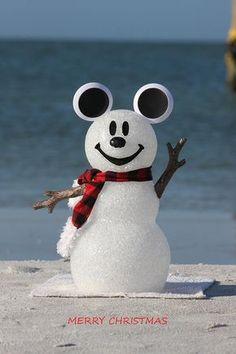 Snowman Photograph - Mickey Mouse Snowman by Shari Bailey