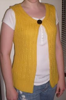 Re-styling a bright cable sweater  Today I re-did this bright yellow cable sweater from Ann Taylor Loft (I grabbed it at Goodwill Outlet because I love the color!). It is a super soft angora blend in cute, classic cables, too, which I like. It was a three-quarter length, sort of shapeless scoop neck in Large before I got to it with scissors, handsewing, and closure. Take a look!