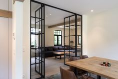 Magnus villa's | villabouw – renovatie – interieur Living Room White, Home Living Room, Interior Architecture, Interior And Exterior, Interior Design, Black Window Frames, Steel Doors And Windows, Dining Corner, Build A Closet