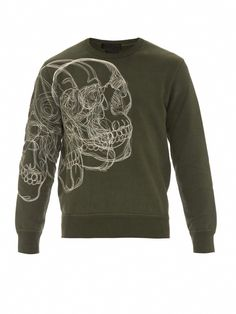 19a1ea59479a Skull-embroidered cotton sweater by Alexander McQueen. Top Catwalk Branded  Clothing