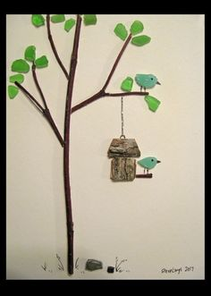 Birds at Birdfeeder - Sea Glass Art