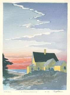 """""""A Maine Morning"""" by Matthew Brown (woodblock print, 9 1/4 x 6 3/4, $195)"""