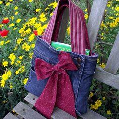 borsa jeans con fiocco