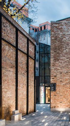 Ground Lighting leading you in, narrow passageway between buildings Architecture Renovation, Building Renovation, Hotel Architecture, Industrial Architecture, Building Exterior, Brick Building, Contemporary Architecture, Architecture Design, Church Interior Design