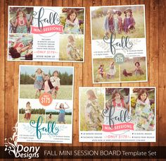 4 Fall Mini Session Templates Photography Marketing board - Photoshop template Set Instant Download : ms-500 BUY 1 GET 1 FREE by DonyDesigns on Etsy