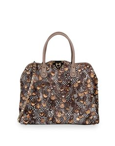 Valentino - Medium bag with stud detail in feather print pony skin