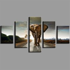 5 Panel Elephant Canvas Painting Home Decoration Living Room Print Painting Wall…