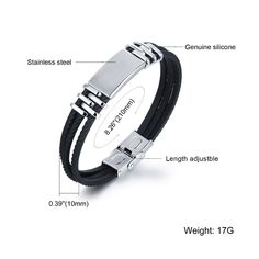 Three Layers Silicone Wrap Bracelets For Man New Fashion Simple Design Stainless Steel Men Jewelry Accessories - Three Layers Silicone Wrap Bracelets For Man Simple Design Stainless Steel Men Accessories - Braided Bracelets, Bracelets For Men, Fashion Bracelets, Bangle Bracelets, Fashion Jewelry, Engraved Bracelet, Jewelry Accessories, Men's Jewelry, Handmade Jewelry