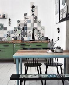 Custom backsplash skyline in Copenhagen kitchen. Hand printed porcelain tiles from ARTTILES.
