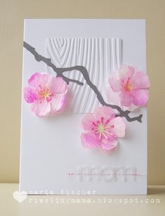 "handmade Mother's Day card ... Asian feel ...  ""mom"" die cut from vellum and stitched on ... watercolored vellum  cherry blossoms .... luv the presentation over a smaller square panel of wood grain embossed paper ... delightful!"