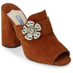 Prada Embellished Leather Block Heel Pumps (13 810 UAH) ❤ liked on Polyvore featuring shoes, pumps, floral pumps, floral peep toe pumps, slip-on shoes, peep-toe pumps and leather peep toe pumps