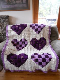 Handmade Crochet Granny Square Patchwork Hearts Quilt Afghan Blanket Bedspread. $100.00, via Etsy