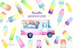 Watercolor Clipart Popsicles  by Corner Croft on @creativemarket