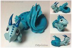 Handmade Polymer Astrological Dragon  Capricorn by LIZZARDDESIGNS, $55.00