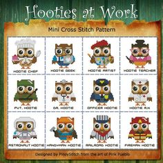 Hooties at Work Mini Collection Cross Stitch PDF Chart