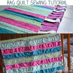 Rag Quilt Sewing Tutorial - Sewing for Baby fabric and flannel, no sandwich, seems much easier and not so heavy Sewing Hacks, Sewing Tutorials, Sewing Crafts, Sewing Projects, Tutorial Sewing, Sewing Tips, Diy Tutorial, Craft Projects, Quilting For Beginners