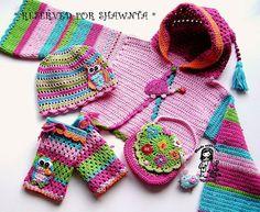 Crochet appliqued cardigan, leg warmers, hat and purse