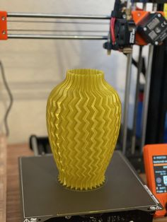 Vase printed with @prusament yellow gold PETG by Aaron Keigher #prusai3 #practical