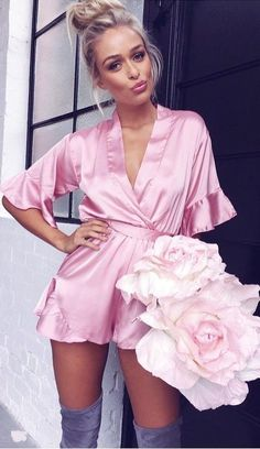 Popular Summer Outfits Of Satin Playsuit Label