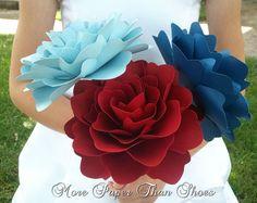 Handmade Paper Flowers - Stemmed - Custom Orders - Wide Variety Of Colors - Set of 3 - X-Large. $20.00, via Etsy.