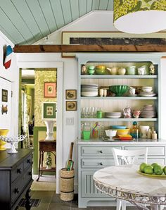 small cottage kitchen design An Old Schoolhouse Becomes a Cozy Cottage . Small Kitchen Storage, Kitchen Display, Cozy Kitchen, Kitchen Decor, Kitchen Hutch, Kitchen Country, Kitchen Ideas, Green Kitchen, Dish Display