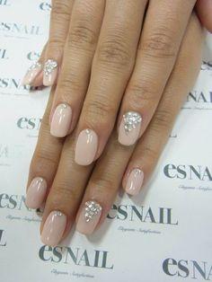 wedding nails with rhinestones