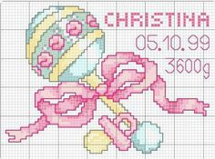 Baby Girl Birth • Chart – wouldn't be hard to change the colours to suit a boy.
