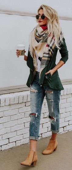 #fall #outfits women's green full-zip jacket, brown and black plaid scarf