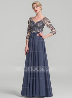 A-Line Princess V-neck Floor-Length Chiffon Lace Mother of the Bride Dress  - Mother of the Bride Dresses - DressFirst 3c9a912a6249