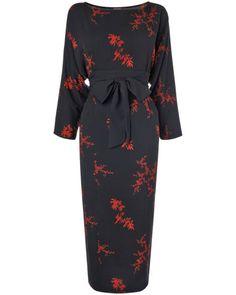 Party Dress - Kiku Leaf Print Dress