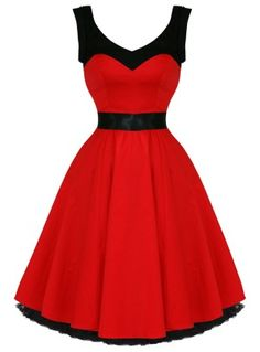 Hearts & Roses Red Rock n Roll Dancing Dress from Tragic Beautiful