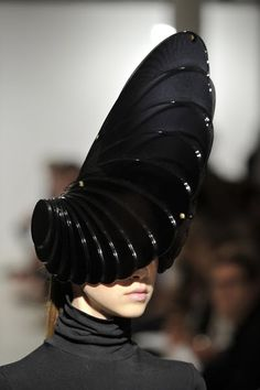 Futuristic Sci-fi Fashion - dramatic glossy black headpiece with architectural structure - 3D sculptural headpiece; wearable art