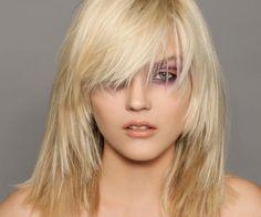 sleek medium length shag hairstyle