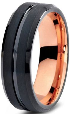 Tungsten Wedding Band Ring 6mm for Men Women Black and 18K Rose Gold Plated Beveled Edge Brushed Polished >>> Discover this special product, click the image : Fashion Jewelry