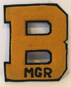 Vintage Varsity Letter B Manager Yellow Black Collectable | Sports Mem, Cards & Fan Shop, Vintage Sports Memorabilia, Patches | eBay!
