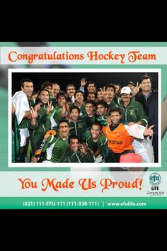 Pakistan Field Hockey team, Asia Champion.