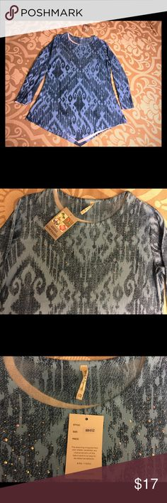 India Boutique Lightweight Sweater/Tunic Brand new. Can be worn alone or with turtleneck. Great with leggings. Scoop neck. Asymmetrical bottom. Embellished in the front. One size fits most, I would say M/L-XXL. 35% cotton, 65% Polyester. No trades. India Boutique Sweaters Crew & Scoop Necks