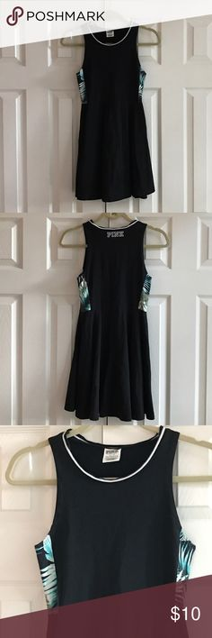 Pink Victoria's Secret dress 94% cotton 6% elastane Machine wash cold. Color is black with white trim and a fern pattern insert under the arms. The dress has a circle skirt. No rips no stains.  Dresses been worn and washed but still has good life left. PINK Victoria's Secret Dresses Mini
