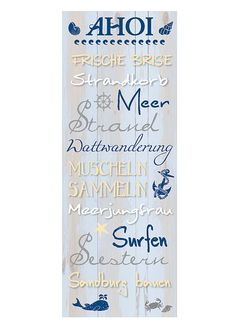 Wandschild Dekoschild Maritim AHOI Schild Sprüche Vintage Shabby Chic