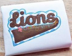 Lions Double Vintage Stitch Applique - 6 Sizes!   Sport Teams   Machine Embroidery Designs   SWAKembroidery.com Creative Appliques